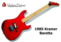 Vintage 1985 Kramer Baretta guitar in candy apple red with maple fingerboard. An Edward Van Halen Design. (eric_ernest) Tags: original musician music art classic beautiful museum vintage photo google cool model pointy tour graphic photos guitar band 5150 guitars prototype 1984 series voyager cds eddievanhalen halen rare kramer songs guitarist videos recording hardrockcafe airbrush knapp pacer guitarplayer pickups vibe iphone paf patent humbucker charvel guitarcollection evh floydrose sandimas airbrushed guitarsolo youtube baretta frankenstrat madeintheusa vintageguitar twitter guitarshow nightswan edwardvanhalen vintageguitars guitarshows guitarcollections rareguitar guitarphotos rockinger rareguitars kramerkonvention guitarcollecting vintagekramerguitars abalonevintage vintagekramer denniskline httpwwwabalonevintagecom 918v