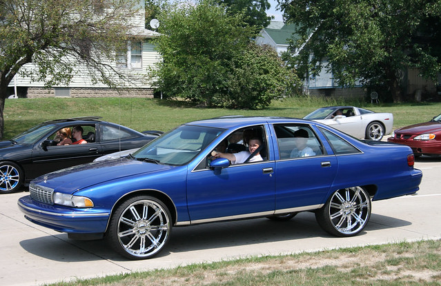 Cruisin in a Blue Chevrolet Caprice