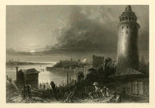 024- La torre de Galata-Las bellezas del Bosforo 1838-W.H. Bartlett