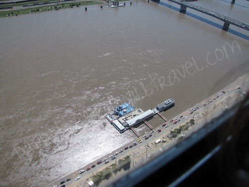 View of riverboats from the Gateway Arch, St. Louis, Missouri