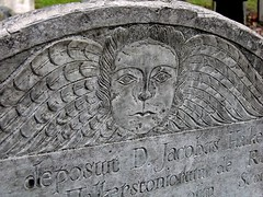 """...deposuit D. Jacobus Halkerston..."": Tombstone in the Granary Burial Ground on the Freedom Trail"