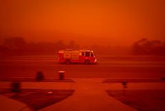 Fire Truck Pan... (e0nn) Tags: red storm news weather dawn pentax sigma event dust duststorm rare wollongong illawarra 14mm reddust blackbutt k200d wollongongpictorialmafia steevselbyphotography