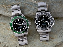 Strobist Rolex Submariner LV and GMT Master II C Canvas Print (ByBBR) Tags: black green rock ceramic rocks anniversary dial master ii views oyster 5000 rolex lunette lv submariner perpetual gmt certified bezel officially strobist