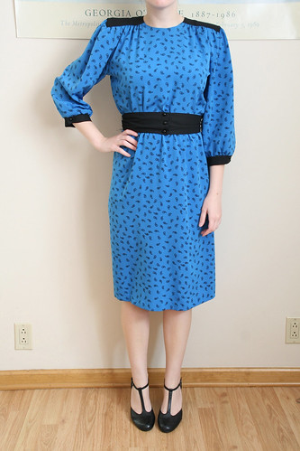 Blue and Black Paisley Secretary Dress with Belt