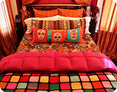 The November Bed (eklektick) Tags: orange dayofthedead urbanoutfitters crochet magenta afghan target diadelosmuertos embroidered hotpink sugarskull makingthebed eklektick