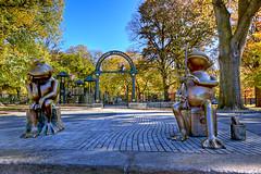 Mr. & Mrs. Frog Fishing at Boston Common Frog Pond (PapaDunes) Tags: autumn sculpture fall playground bronze statues foliage frogs frogpond bostonma bostoncommon sculptor davidphillips