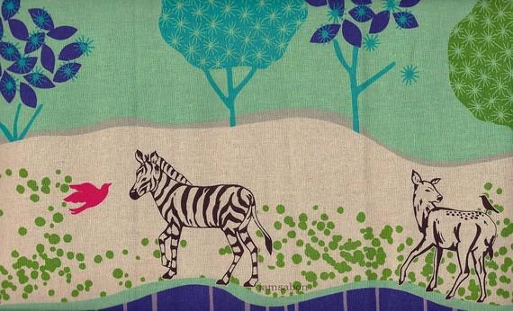 ECHINO by Etsuko Furuya - Border print Grassy Plain (EF505 B Green) - 1 yard