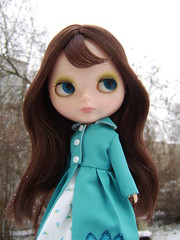 Aubrey (Brentments) Tags: winter light beautiful wearing vintage outfit doll dress fierce gorgeous coat creation kenner blythe trio brunette bangs fabulous bang 1972 2009 wispy aubrey banged