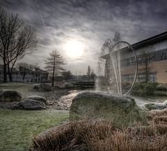 Birchwood Park (Caza_No_7) Tags: park trees sky sun water fountain grass rock stone clouds warrington haze cheshire straw portfolio hazy birchwood icicles hdr goldenheartaward