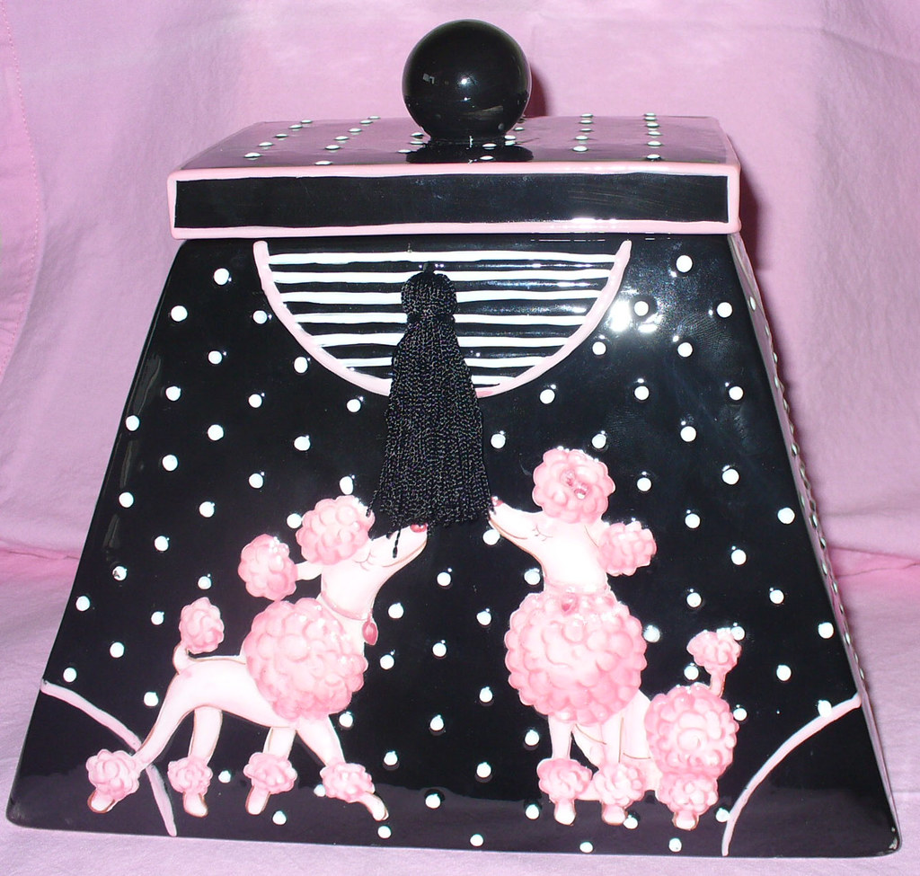 Polka-dotted pink Parisienne poodle purse cookie jar... say what???