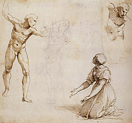 1510  Raphael    Study for the Judgement of Solomon, verso  Pen and brown Ink  26,4x28,7 cm  Vienne, albertina