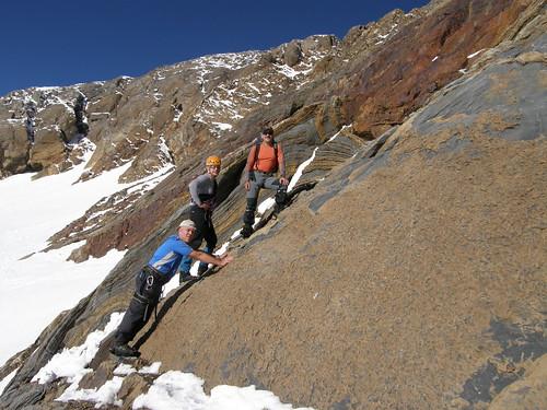 035- Dejando el Glaciar y comenzando la trepada de roca para la cumbre