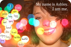 I am Me. (backgroundmusic) Tags: pink blue red portrait music orange green me yellow self catchycolors happy am funny colorful bokeh background ashley young short thankful turner rounded picnik blessed genuine outgoing corners godfilled