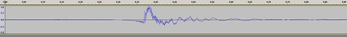 image of waveform shows steady line, then sudden disruption, settling down to steady line