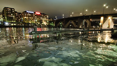 ice flows (-12C) Tags: ice water night sweden stockholm liljeholmen 16x9 d90 tokina1116mmf28