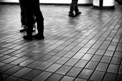 waiting, ever waiting (Chris Beauchamp) Tags: white toronto black feet station train floor copyrightchrisbeauchamp20072009