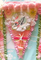 """Baby """"A"""" (♥Sugar*Sugar♥) Tags: pink flowers decorations baby girl glitter altered vintage scrapbooking ruffles sweet crafts banner garland gree babyshower pompom bunting millinery pennants shabbychic sugarsugar papercrafting"""