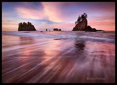 Horizontal Second Beach Sunrise (Chip Phillips) Tags: park sea beach horizontal sunrise landscape photography coast washington state phillips stack national second chip olympic soe abigfave goldstaraward ostrellina