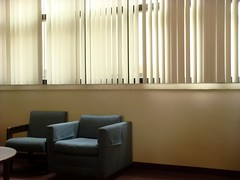 Lights Out (xvm) Tags: blue sun chair library lounge blinds armchair hcc sidechair yborcity