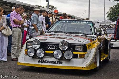 1985 Audi Sport Quattro S1. This 1985 Audi Sport Quattro S1 was being drivin by Walter Rohrl. This car was one of the fiercest of all the Group B rally cars.