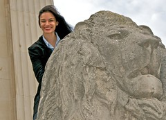 Meghan atop lion