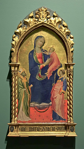 "Tempera on wood, ""Madonna and Child with Saints Stephen and Nicholas"", by Gherardo Starnina, 1407, at the Saint Louis Art Museum, in Saint Louis, Missouri, USA"