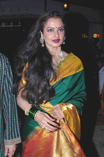 Bollywood actress Rekha in a silk sari