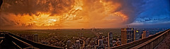The Failure of Sunset (sashdc) Tags: blue sunset sky people urban panorama orange toronto ontario west clouds bay war university heaven colours view centre hell east story revolution yonge mythology stitched manulife colorphotoaward bloorcity