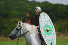 Roman Auxiliary Soldier with Golden Mask on Horseback, Ermine Street Guard, Kelmarsh Festival of History 2009 (Steve Greaves) Tags: boss red italy rome green leather silver army gold italian ancient war uniform paint catchycolours dress arms roman juliuscaesar sandals painted military helmet battle event imperial conflict soldiers historical shield recreation volunteer rider armour period 2009 invasion reenactment horseback troops romanempire whitehorse reenactors authentic legion romans invading armoury chainmail reconstruction invaders cohort legionary spear regiment livinghistory reenacting warfare englishheritage auxiliary goldenmask festivalofhistory kelmarsh erminestreetguard battledress auxilia kelmarshhall paxromana 400ad auxilliary nikond300 imperialera fightingforce 43ad