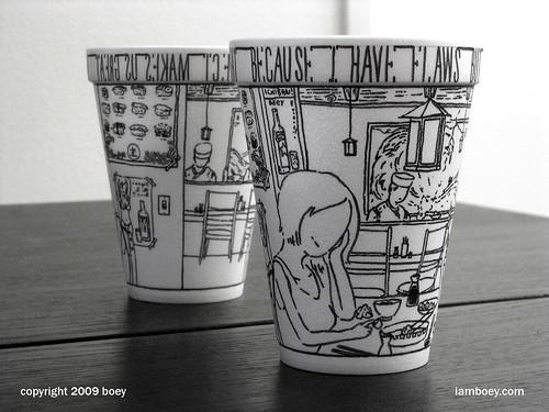 foam coffee cup drawings by boey