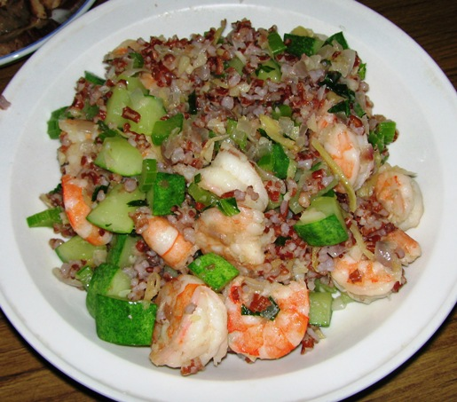 Lunch : Rice Medley with Prawn and Cucumber