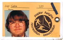 Jay Lake 1981 Pool ID Card