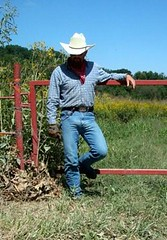 01 WS maingate access for field crop inspection (wranglerswimmer) Tags: cowboy wranglerjeans hotjeans cowboygear wranglercowboy