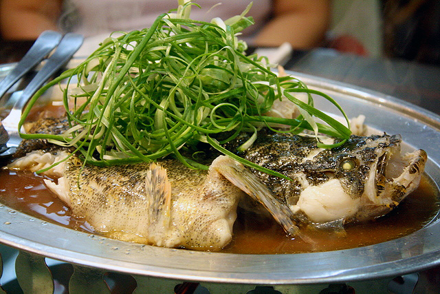 Incredibly fresh steamed Soon Hock or Marble Goby