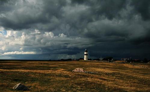 Lighthouse Morups Tånge. Thunderstorm approaching.