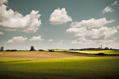 God and Country (Loren Zemlicka) Tags: blue light shadow summer sky green church field june wisconsin clouds rural landscape photography gold photo midwest image god farm horizon country picture hills photograph land 2009 canonef1740mmf4lusm canoneos5d lorenzemlicka