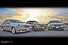 The three Arrows (MadVette) Tags: auto sunset car mercedes benz mad hdr e55 amg q8 w124 lucis e500 w210 w211 500e madvette
