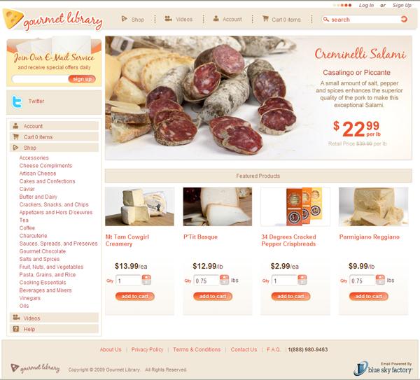 GourmetLibrary.com Homepage