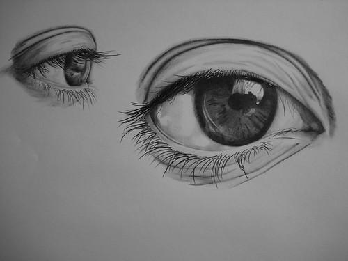 charcoal sketch, my eyes, eye sketching