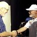 Tom Creamer greets John Easton