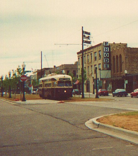 A former Toronto Transit Commision 1951 PCC electric streetcar heads east on 54th Street in downtown Kenosha Wisconsin. Saturday, June 17th 2000.