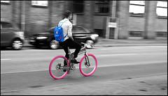 sweet ride (madstfri) Tags: pink blue colour bike canon copenhagen islands back afternoon going cycle 1750 push 28 easy tamron tyre københavn selective cykel biomega brygge fredag taske inyoureyes rygsæk fridat xti 400d madstfri fjeldræv