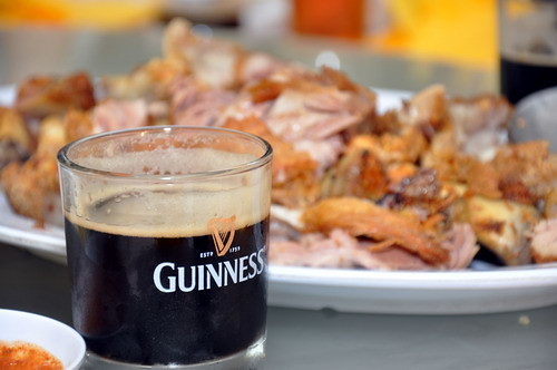 Crispy Pork knuckle with guinness