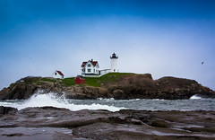 A Beacon in the Blue (Jim Boud) Tags: york blue lighthouse seascape storm lens landscape island coast is waves seagull maine newengland wideangle stormy bluesky atlantic gradient usm splash beacon atlanticocean crashing lightroom artisticphotography splashing