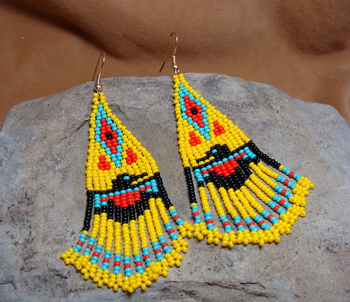 Thunderbird Beaded Earrings in Yellow, Red, Turquoised and Black