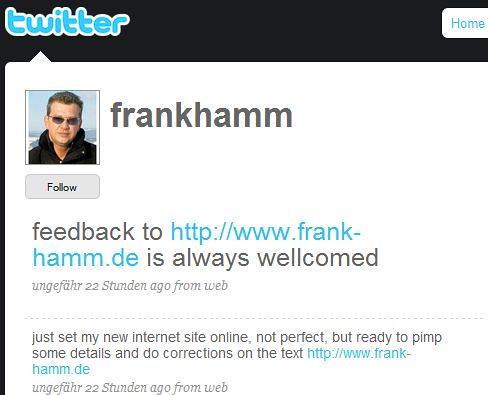 Frank Hamm auf Twitter