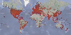 نقشه کشورهای آلوده به کرم اینترنتی کیدو - برای بزرگتر شدن تصویر کلیک کنید