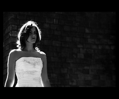 MARIAGE / WEDDING : Intense (Sebastien LABAN) Tags: wedding portrait blackandwhite bw white love face hair grey intense eyes dress ceremony shoulder glance cubism haircutlook