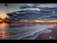 Henley Beach Jetty - HDR (Dale Allman) Tags: ocean sunset beach water clouds flow waves jetty adelaide canon5d southaustralia hdr 1740 henleybeach photomatix henleyjetty canon5dmark2