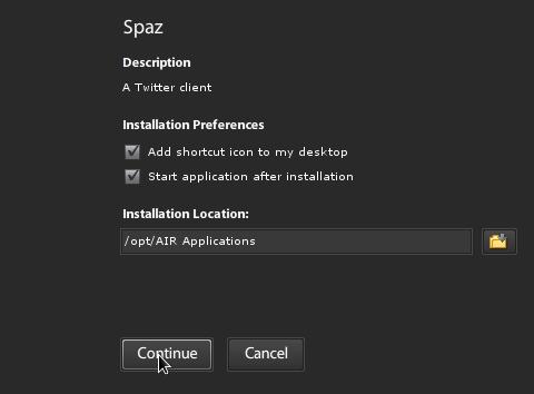 Installing Spaz.AIR